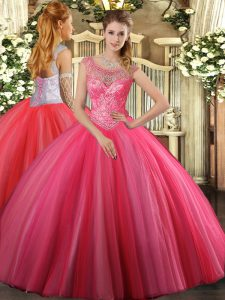 Sophisticated Beading Sweet 16 Dresses Coral Red Lace Up Sleeveless Floor Length