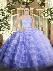 Pretty Sleeveless Floor Length Lace and Ruffled Layers Zipper Ball Gown Prom Dress with Lavender