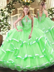 Luxurious Floor Length Lace Up 15 Quinceanera Dress for Military Ball and Sweet 16 and Quinceanera with Beading and Ruff