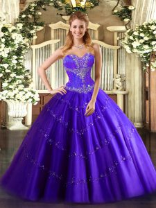 Floor Length Lace Up Sweet 16 Dresses Purple for Sweet 16 and Quinceanera with Beading