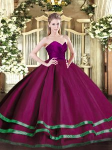 Discount Sweetheart Sleeveless Sweet 16 Dress Floor Length Ruffled Layers Fuchsia Tulle