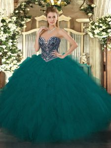Flirting Teal Ball Gowns Beading and Ruffles Ball Gown Prom Dress Lace Up Tulle Sleeveless Floor Length