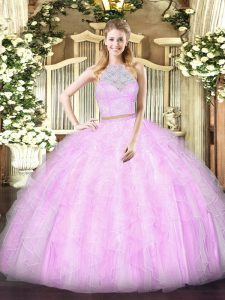 Sweet Lilac Zipper Scoop Lace and Ruffles Sweet 16 Dresses Tulle Sleeveless