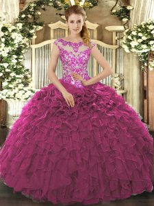 New Style Fuchsia Organza Lace Up Scoop Cap Sleeves Floor Length Quinceanera Dress Beading and Appliques and Ruffles