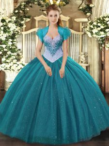 Sleeveless Tulle Floor Length Lace Up Sweet 16 Dress in Teal with Beading and Sequins