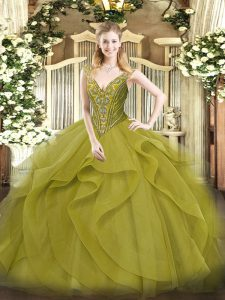 Beautiful Olive Green Ball Gowns Tulle V-neck Sleeveless Beading and Ruffles Floor Length Lace Up 15 Quinceanera Dress