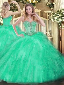 Eye-catching Beading and Ruffles 15 Quinceanera Dress Apple Green Lace Up Sleeveless Floor Length