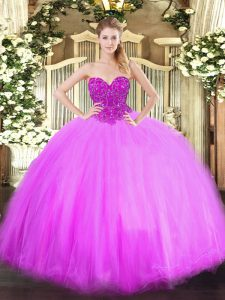 Free and Easy Lilac Ball Gowns Beading 15 Quinceanera Dress Lace Up Tulle Sleeveless Floor Length