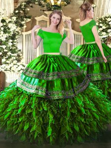 Top Selling Green Zipper Off The Shoulder Embroidery and Ruffles 15 Quinceanera Dress Organza and Taffeta Short Sleeves