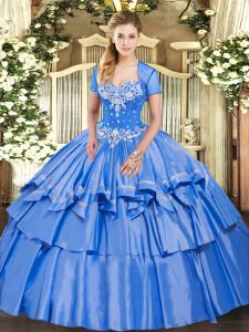 Ball Gowns Quince Ball Gowns Baby Blue Sweetheart Organza and Taffeta Sleeveless Floor Length Lace Up