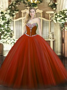 Discount Rust Red Lace Up Sweetheart Beading Quinceanera Dresses Tulle Sleeveless