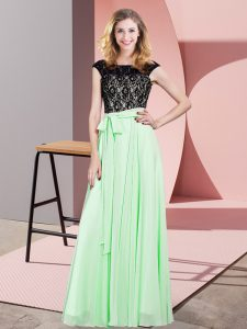 Elegant Apple Green Prom Dress Prom and Party with Lace and Belt Scoop Sleeveless Lace Up