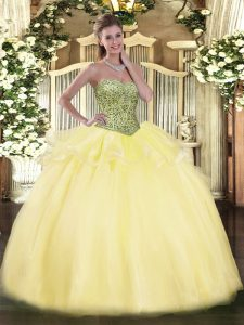 Gorgeous Sweetheart Sleeveless Lace Up Quinceanera Dresses Light Yellow Tulle