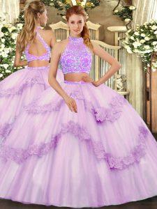 Floor Length Two Pieces Sleeveless Lavender Sweet 16 Quinceanera Dress Criss Cross