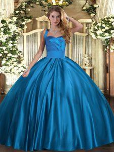 Blue Sleeveless Ruching Floor Length Quinceanera Dresses