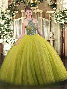 Olive Green Tulle Lace Up Quinceanera Dress Sleeveless Floor Length Beading