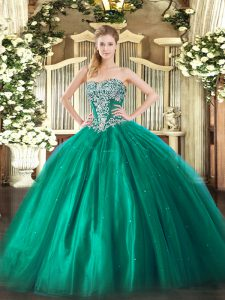 Tulle Strapless Sleeveless Lace Up Beading Quinceanera Dress in Turquoise