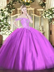 Decent Floor Length Lace Up Quinceanera Dresses Lilac for Military Ball and Sweet 16 and Quinceanera with Beading