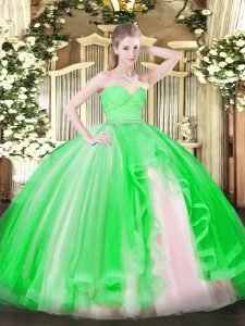 Dazzling Green Sleeveless Tulle Zipper Quinceanera Gown for Military Ball and Sweet 16 and Quinceanera