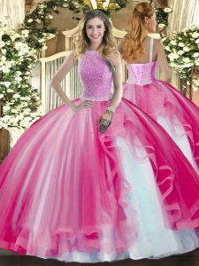 High-neck Sleeveless Tulle Quinceanera Gown Beading and Ruffles Lace Up