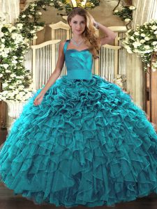 New Arrival Sleeveless Ruffles Lace Up Quince Ball Gowns