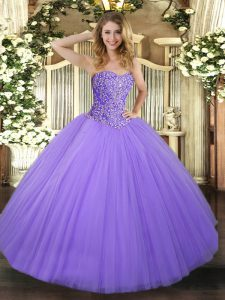 Eye-catching Floor Length Lavender 15 Quinceanera Dress Sweetheart Sleeveless Lace Up