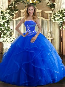 Adorable Floor Length Lace Up Quinceanera Gown Blue for Military Ball and Sweet 16 and Quinceanera with Beading and Ruff