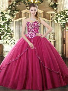 Vintage Sweetheart Sleeveless Sweet 16 Dresses Brush Train Beading Hot Pink Tulle