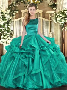 Turquoise Ball Gowns Organza Scoop Sleeveless Ruffles Floor Length Lace Up Quince Ball Gowns