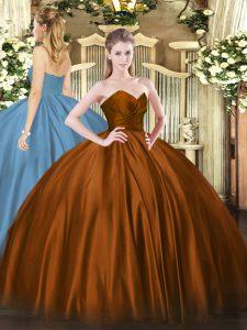 Glamorous Sleeveless Floor Length Ruching Zipper Sweet 16 Quinceanera Dress with Brown