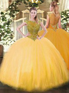 Modern Ball Gowns Quince Ball Gowns Gold Scoop Tulle Sleeveless Floor Length Zipper