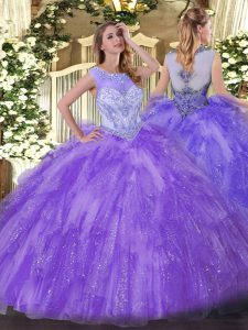 Floor Length Lavender 15 Quinceanera Dress Organza Sleeveless Beading and Ruffles
