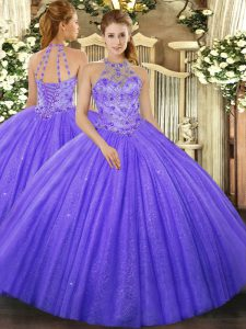 Fine Lavender Halter Top Neckline Beading and Embroidery Quinceanera Dress Sleeveless Lace Up