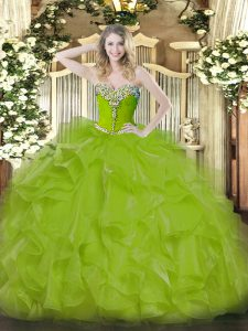 Olive Green Sweet 16 Dresses Military Ball and Sweet 16 and Quinceanera with Beading and Ruffles Sweetheart Sleeveless L