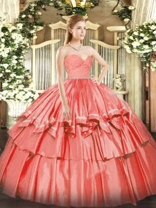 Watermelon Red Quinceanera Gowns Military Ball and Sweet 16 and Quinceanera with Beading and Lace and Ruffled Layers Swe