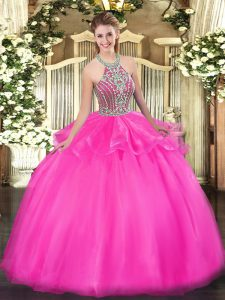 Tulle Halter Top Sleeveless Lace Up Beading and Ruffles Ball Gown Prom Dress in Hot Pink