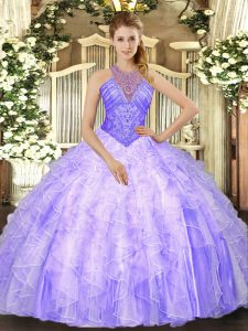 Lavender High-neck Neckline Beading and Ruffles Sweet 16 Dress Sleeveless Lace Up
