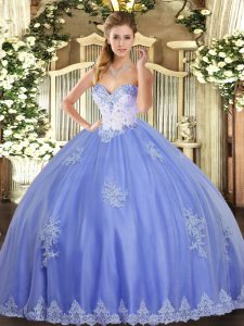 Blue Sweetheart Lace Up Beading and Appliques Quinceanera Gowns Sleeveless