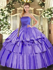 Lavender Organza Lace Up Strapless Sleeveless Floor Length Quinceanera Dress Ruffled Layers