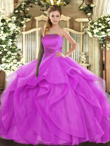 Glamorous Fuchsia Lace Up Quinceanera Gowns Ruffles Sleeveless Floor Length