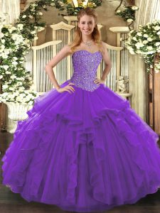 Modern Purple Quinceanera Gown Military Ball and Sweet 16 and Quinceanera with Beading and Ruffles Sweetheart Sleeveless