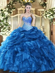 Chic Blue Sweetheart Neckline Beading and Ruffles and Pick Ups Quinceanera Dresses Sleeveless Lace Up