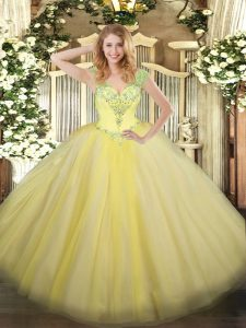Best Selling Light Yellow 15 Quinceanera Dress Military Ball and Sweet 16 and Quinceanera with Beading V-neck Sleeveless