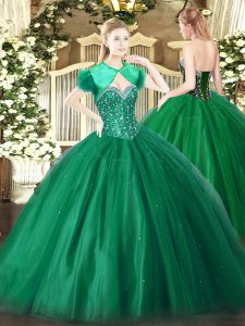 Simple Floor Length Dark Green Quinceanera Dresses Tulle Sleeveless Beading