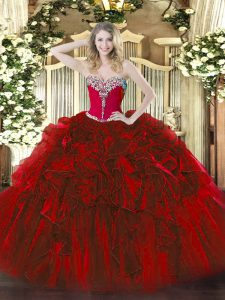 Sweetheart Sleeveless Sweet 16 Dress Floor Length Beading and Ruffles Wine Red Organza