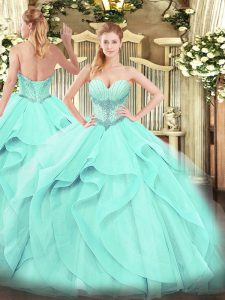 Dynamic Aqua Blue Lace Up Sweetheart Beading and Ruffles Quinceanera Dresses Tulle Sleeveless