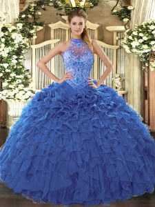 Floor Length Lace Up 15th Birthday Dress Blue for Sweet 16 and Quinceanera with Beading and Embroidery and Ruffles