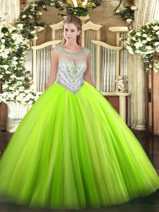 Smart Sleeveless Tulle Floor Length Zipper Quince Ball Gowns in with Beading