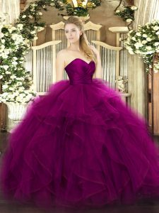 Hot Selling Fuchsia Sweetheart Neckline Ruffles Quince Ball Gowns Sleeveless Zipper