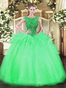 Fashion Scoop Cap Sleeves Zipper Sweet 16 Dress Green Organza